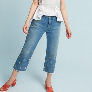 3/35 Anthropologie Embroidered High Rise Jeans 28